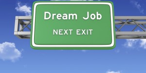 Road Sign with DREAM JOB and Sky